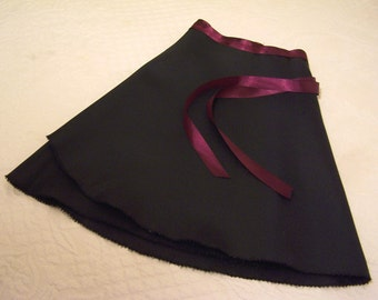 Wrap Around Ballet Skirt, Black With Maroon Ribbon