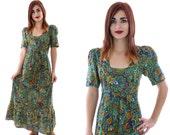 70s Paisley Dress Vintage Green Floral Hippie Boho Bohemian Festival Ruffle Prairie 60s Full Skirt 1970s Puff Sleeve Maxi Small Medium S M