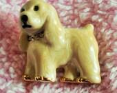 Vintage Puppy Dog Brooch, Figural Pin, Rhinestone Collar