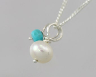 Pearl and Turquoise Drop Necklace in Sterling Silver