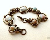 Convertible bracelet or necklace with wired links, African opal stone beads