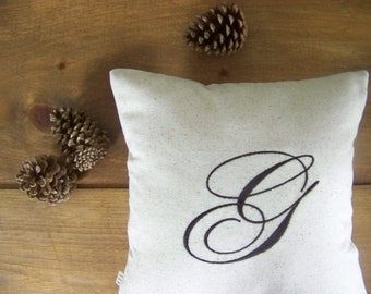monogram pillow cover / embroidered / espresso/ gift idea / custom / letter / personalized pillow / initial pillow /