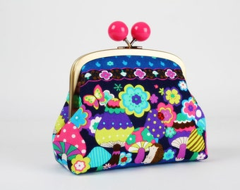 Metal frame clutch bag - Psychedelic mushrooms - Color bobble purse / japanese fabric / neon pink purple blue mint lime brown