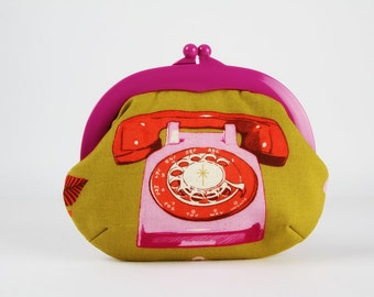 Plastic frame purse - Rotary in pink and red  - Gamaguchi large / Bright purple kisslock purse / Melody Miller / Vintage phone / mustard
