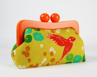 Resin frame clutch bag - Birds on chartreuse - Awesome purse / Bright orange frame / Echino japanese fabric / red turquoise green purple