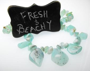 PERUVIAN BLUE OPAL 00310-434 genuine precious gemstone polished Andes pebble suite aqua blue green stone matching beads diy necklace kit set