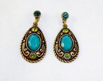 Brass Tone And Green Rhinestone Post Dangle Earrings
