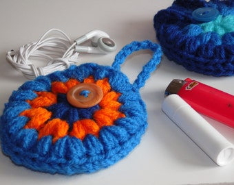 Stash pocket, Headphones case, Puff Pocket, Purse pocket, Stash bag Blues and Orange