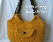 Felted Wool Sweetwater Bag - Knitting Pattern PDF - hand knit purse handbag shoulder bag - includes tutorial on making a fabric lining