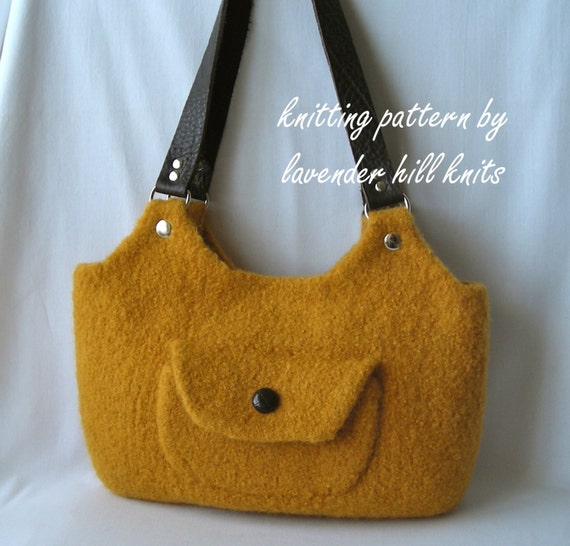 Felted Wool Sweetwater Bag - Knitting Pattern PDF knit purse shoulder bag - resell permission - includes tutorial for fabric lining