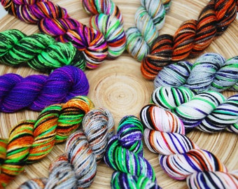 Halloween Mini Skein Yarn Kit - Glam Rock Sparkle Sock Yarn - 438 Yards - Superwash Merino Nylon