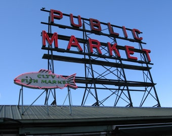 Public Market Sign, Pike's Place, Seattle Photography, US Travel Photograph, iconic Seattle wall art, fish market, Seattle sign print