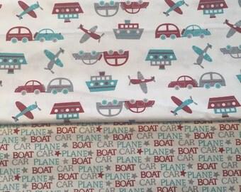 Plane Boat Car Boutique Crib/Mini Crib Toddler Nursery Bedding Set