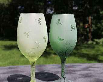 Aqua,Yellow, Green or Blue Dragonfly and Flourish  Frosted Etched Wine Glasses Set Of 2