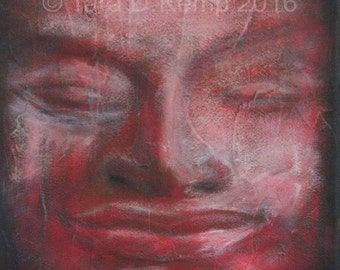 Red Buddha - Gliceé Canvas Gallery Wrap Print 9x9""
