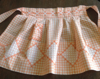 Vintage Orange Peach Gingham Apron, Cross Stitch, Chicken Scratch Embroidery