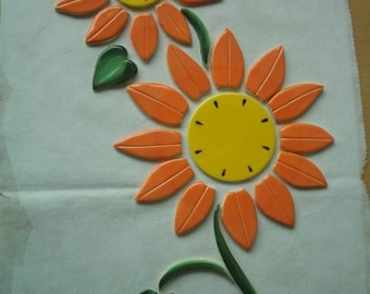 DAISY2 - FLOWERS, Leaves  - Ceramic Mosaic Tiles