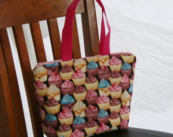 Child Size- Kid Size Cupcakes Insulated Lunch Bag- Tote- Zipper Lunch Bag Water and Mildew Resistant Interior