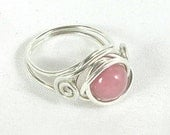 Sterling Silver Ring with Pink Amazonite Bead - Persian Pink - actual photo