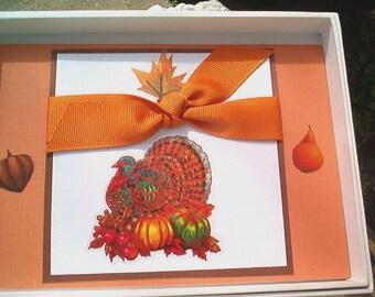 Thanksgiving Card, Elegant Thanksgiving Card, Glitz, Shimmer, Turkey, Fall leaves, Warmth, Handcrafted