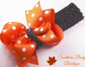 New Item----Boutique Baby Girl Hair Bow Headband---Orange and Brown