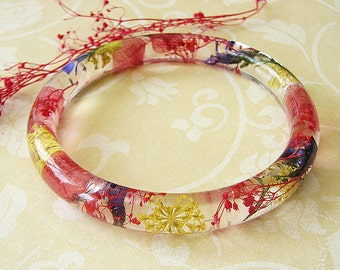 Real Flower Bracelet Real Flower Jewelry Bangle Bracelet Resin Bangle Pressed Flower Jewelry Botanical Jewelry Gift For Her