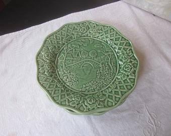 """Vintage Bordallo Pinheiro """"Rose Garden"""" Luncheon Plates"""