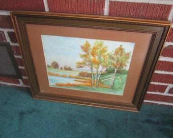 Vintage Dated 1950 Original Pastel Autumn Landscape Signed Painting