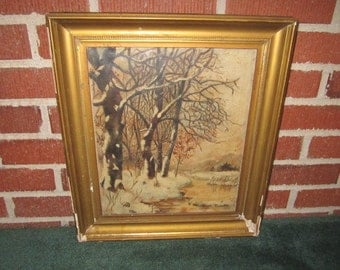 Antique Primitive Folk Art Original Framed Winter Landscape Oil Painting