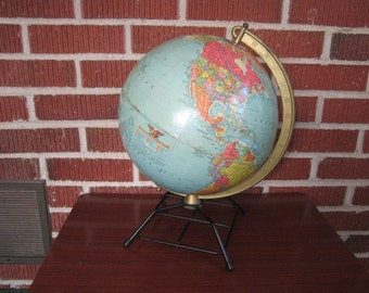 Vintage Mid Century Modern Repogle 10 Inch World Globe with Black Metal Stand