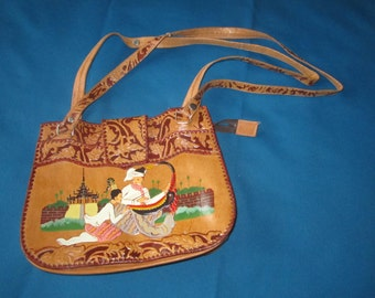Vintage 1950s/60s Tooled Leather Shoulder Bag Purse with Asian Design