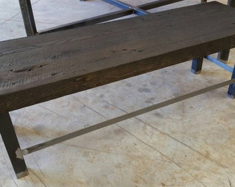 Ready to Ship Industrial  Barn Wood Bench with Free Shipping