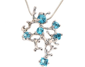 CORAL Reef Blue Topaz Pendant Necklace, Stone 14k White Gold Pendant, Blue Topaz Necklace, Unique Gold Pendant Necklace Gold