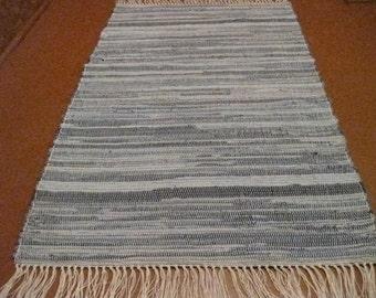 Handwoven Denim w/ Border Rag Rug (M) 25 x 47