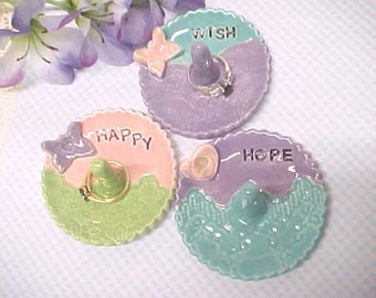 Inspirational Word WISH, HAPPY, HOPE, Jewelry Holder, Pottery Trinket Dish, Lavender, Turquoise, Sage Green, Pink, Engraved Word