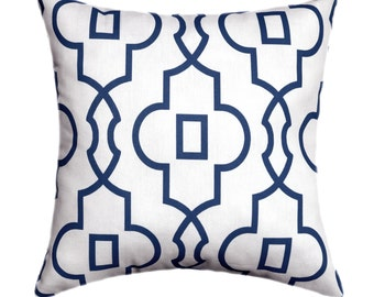 Navy Geometric STUFFED Throw Pillow, Navy Blue Throw Pillow, Bordeaux Navy Lattice Pillow, Geometric Accent Pillow, Navy Pillow - Free Ship