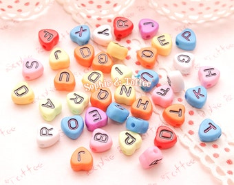 Colorful Heart Shaped Alphabet Beads (7x7mm) - 136 pieces approx. | Acrylic Beads | Plastic Beads | Resin Jewelry | Kawaii Beads