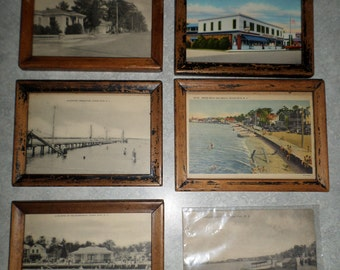 6 vintage 1930's Ocean Gate New Jersey framed NJ beach POST CARD collection Jersey Shore black & white and color postcards