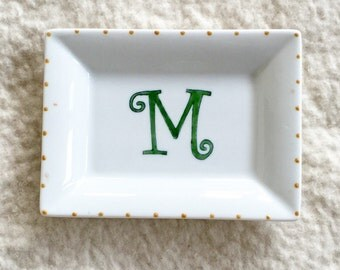 Hand painted porcelain custom monogram personalized heart shaped tray for jewelry or bed and bath