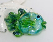 Limey the Fish Handmade Lampwork Glass Focal Bead