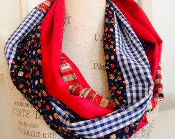 red white blue patriotic pattern mix scarf