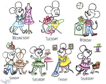 Days of the Week Hand Embroidery Mice Girl & Boy 6804 PDF instant download a 1940s design