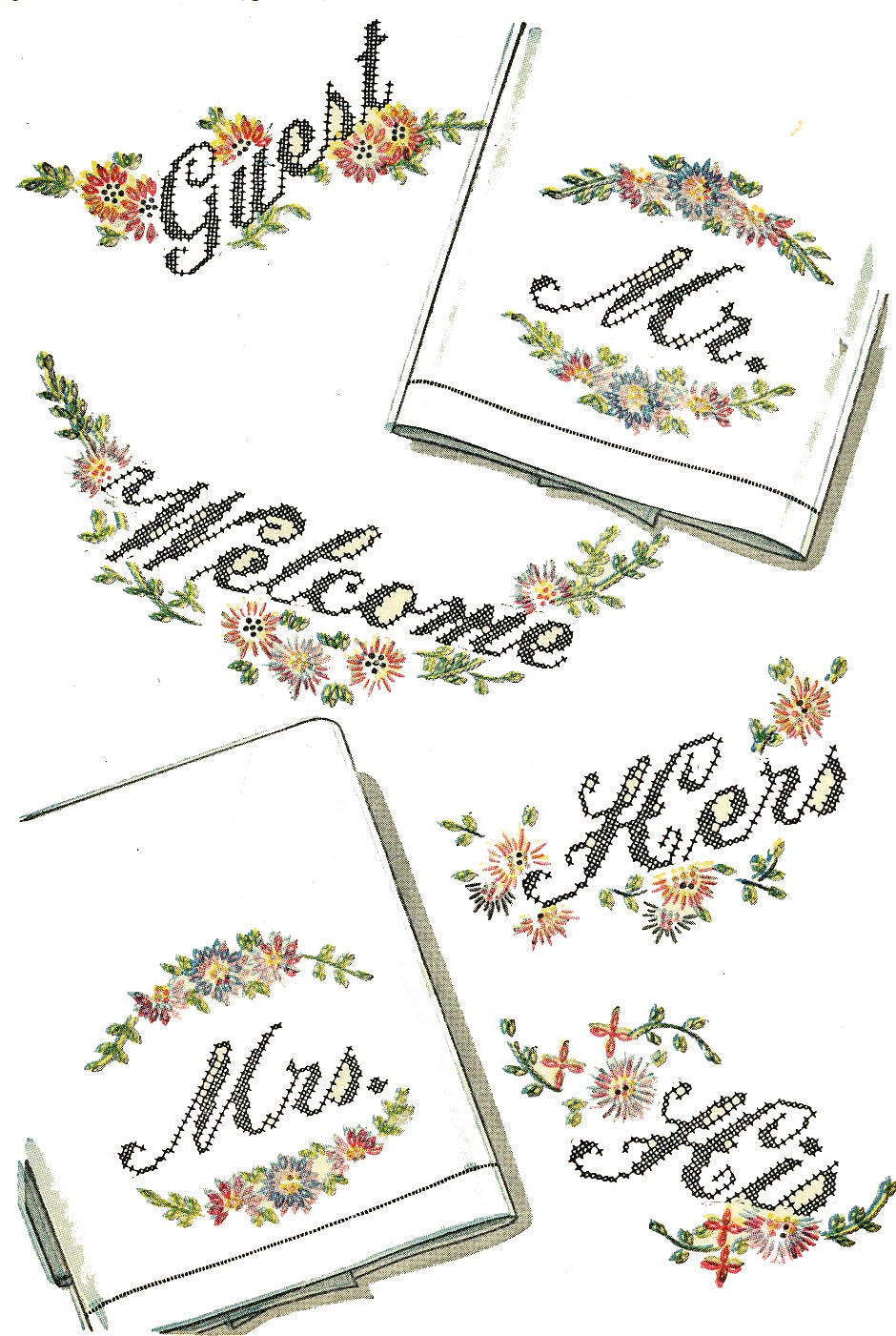 Vintage hand embroidery transfers words guest welcome his