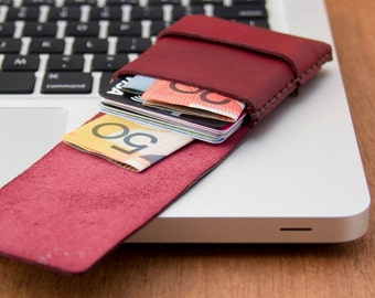 Slim Leather Wallet - Mini Wallet -Leather Card Case - original 'Minimum Wallet' - Hand Dyed Ruby Red - Hand Stitched - FREE SHIPPING