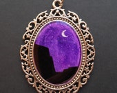 Nature at Night COLD DESERT 30 x 40 mm Hand Painted Necklace