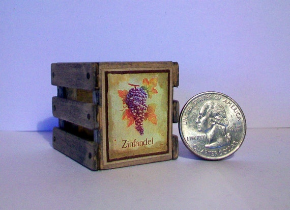 Mini zinfandel wine crate 1 12 scale for Small wine crates
