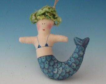 TINY blue MERMAID, Mermaids, Dolls Mermaids, Mermaid Dolls, Mermaid Ornament