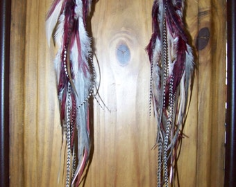 Burgundy Feather Earrings, Gray Feather Earrings, Burgundy and Grey, Feathers, White Feathers, Grizzly, Burgundy Hair Wig, Cranberry