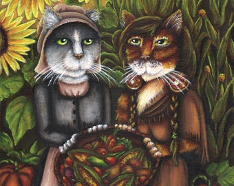 Thanksgiving Cat Art, Pilgrim Autumn Harvest 5x7 Fine Art Print
