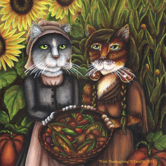 Thanksgiving Cat Art, Pilgrim Autumn Harvest 8x10 Fine Art Print